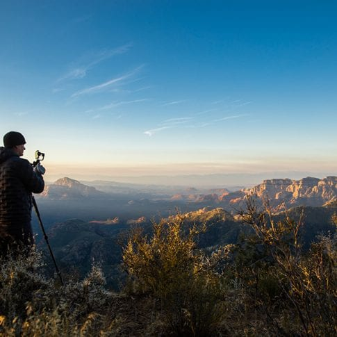 Photographer looking out over Sedona