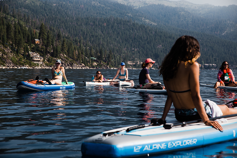 group of girls floating on lake tahoe