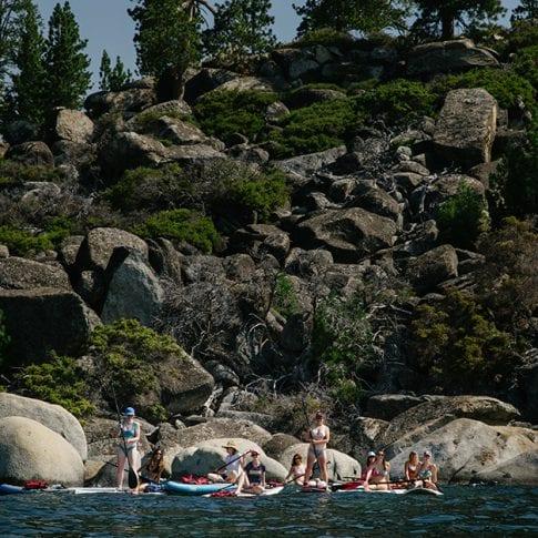 group of girls on lake tahoe