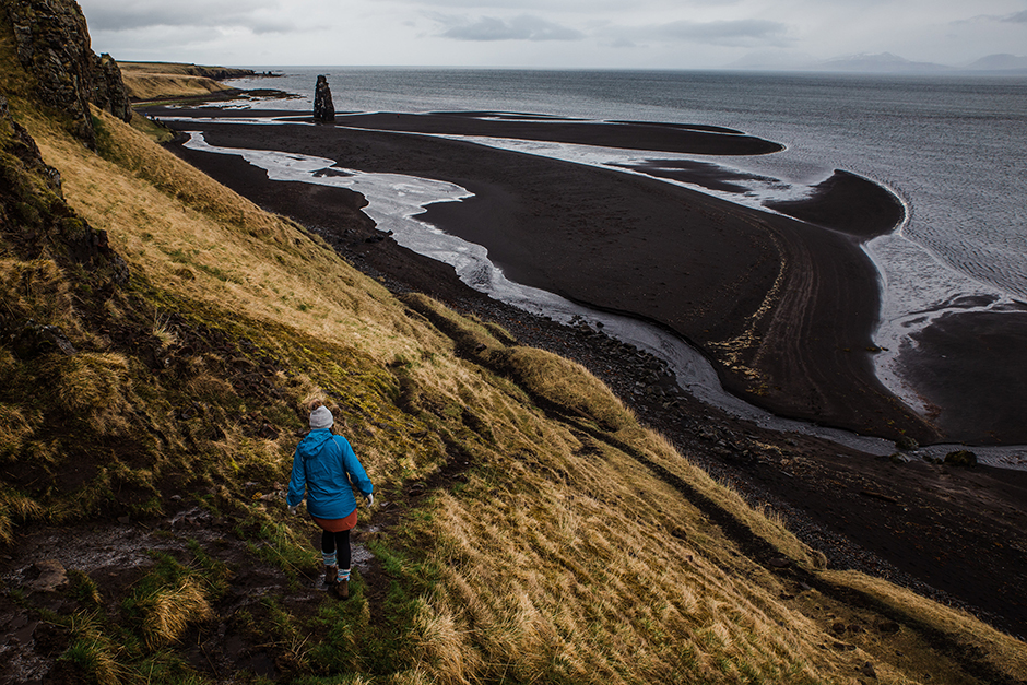 hiking to black sand beach in iceland