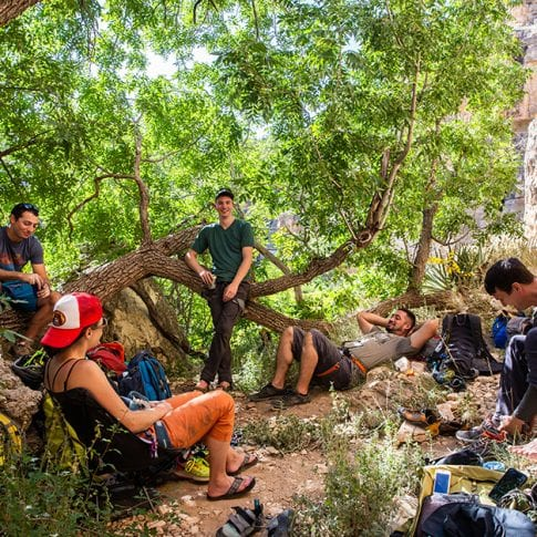 group of climbers relaxing at jacks canyon