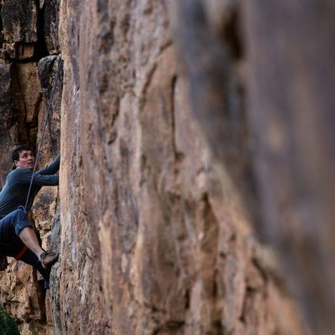 guy climbing at jacks canyon