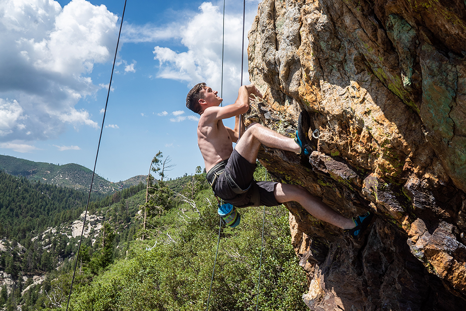 young man climbing at mount lemmon