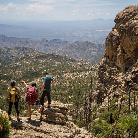 group hiking at mount lemmon