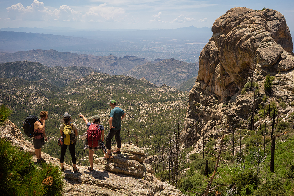 group hiking at mount lemmon