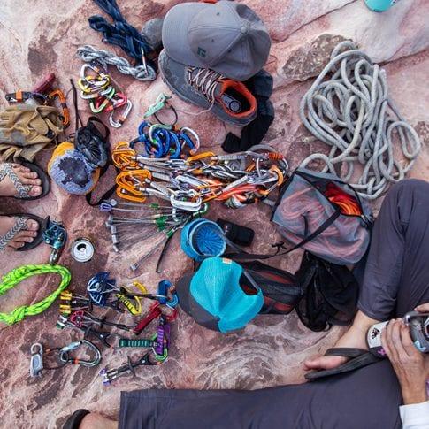 climbing gear on red rocks