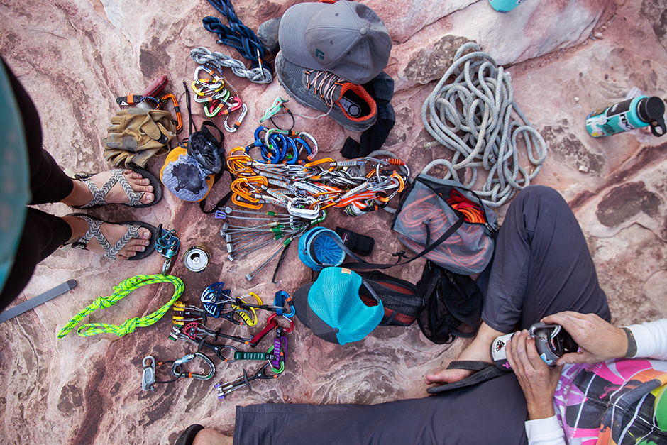 climbing gear on red rocks