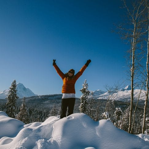 woman happy in snow