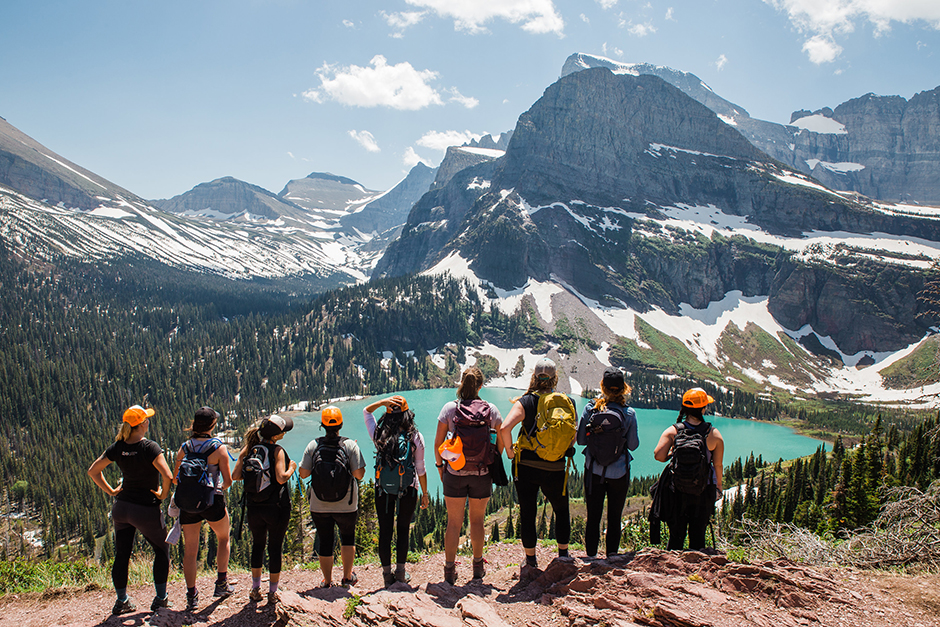 glacier national park with group of women