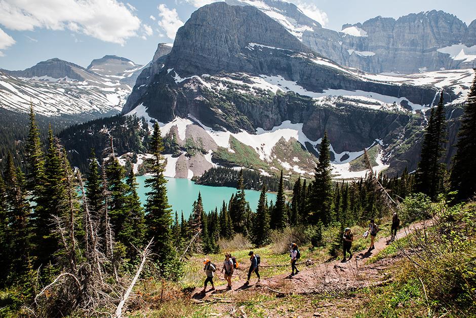 girls hiking in glacier national park
