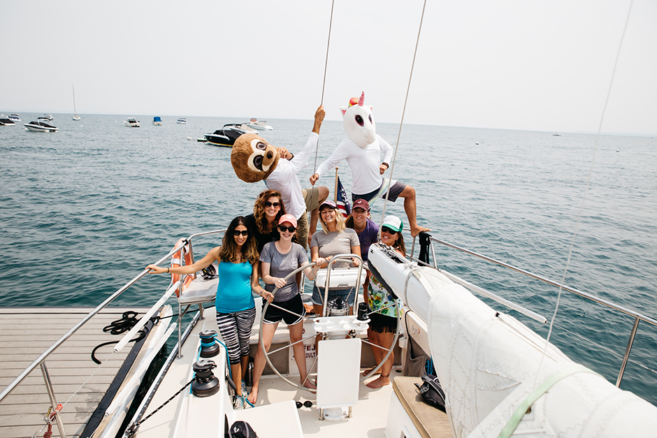 funny group of girls on sailboat